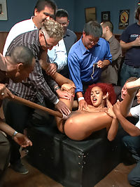 Hot young squirter with a fetish for medical play : Daisy Ducati is young and ready an attention whore who has a thing for medical play. Dragged into a bar, she is swarmed by the perverted public, stripped, tied up, spanked and fucked. She gets pounded on top of the bar, in a doctors chair, and fucked by strangers with a dick-on-a-stick. Prepare for a squirt fest!