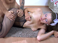 JulietC and Frederic office pantyhose action : Hot uniformed girl Juliet C. looked so gorgeous in her dark patterned hose that Frederic simply couldn and apost help licking her slim pantyhosed legs. Then this horny tattooed stud switched his attention to her exposed through the open crotch pantyhose beaver licking the girl and making her jump onto his boner. He fucked the chick in a number of positions before he got ready to shoot his gooey load.