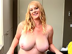 Tits In Tight Tops : Pretty lady Cameron Skye is rocking a low-cut dress in her photo set, and in this video--shot right before that photo set--Cameron gets to show you more of her spectacular curves and her happy, bubbly personality.br br We first meet Cameron in the models dressing room wearing a peach bra and panty thingie that does her big boobs justice. We have a bit of a chat with the smiling blonde and then Cameron shows some of her work-out routines in a spontaneous display. Seeing those hip thrusts while shes on the floor could make anyones day.br br The models read the comments posted on our sites so we printed out some of Camerons pages. She reads several of them on-camera and gives a shout-out to the writers. We may start to do this kind of video greeting periodically with returning models. Cameron enjoyed it.br br When Cameron wraps up her call-outs, she changes into the sensual goddess dress she wears in the pictorial and heads out to the studio for her photo session.br br Thank you for sharing the dressing room fun, Cameron!br
