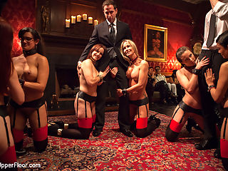 Masquerade Orgy with Nine Slaves,100 Horny Guests, Part Two : Part Two of our over the top crazy ass sex orgy on the Upper Floor.