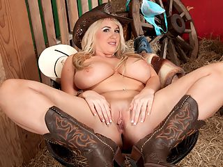Ride em, Cowgirl! : Rockell is every inch a Bama barn-buster! In this video, Rockell cowgirls it and its doubtful that theres a hotter cowgirl from the south out there modeling like Rockell. Rockell explained how she likes her big boobs handled. Saddle up for fun, cowpoke.br br How should a man treat Rockells nipples?br br Rockell Well, I like them to be sucked on and I like them to be played with. I guess I like them to be teased. Just give them 100 attention and youre good to go.br br Youre okay with biting?br br Rockell Yeah. You can a little bit, not too hard. Theyre sensitive.br br What about nipple clamps?br br Rockell I have used nipple clamps. I like them. Theyre not like my favorite, but theyre okay.br br So your favorites would be mouth and hands?br br Rockell Definitely... if the guy knows how to work his hands and mouth, right.br br Speaking of the girls, do you have a name for them?br br Rockell I named them Attention Whores. They have a mind of their own.br