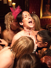 Masquerade Orgy with Nine Slaves,100 Horny Guests, Part Three : Gorgeous female guests serve their masters while our slave girls finish servicing guest cock and licking up the last of the cum. The night ends with a nine girl pile up on Pink, our submissive bartender, who is given humiliating orgasms in front of the guests to celebrate her one year anniversary with us. Congratulations Pink.