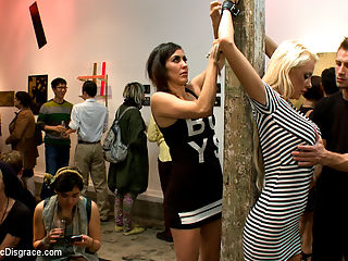 Fuckable Art! Big titted blonde fucked in a crowded gallery : Courtney Taylor is the main attraction in this gallery. Art students join in the spectacle as this huge titted blonde gets fucked, manhandled and disgraced. Rope bondage, riding crop, deep throat, rough sex and humiliation. Check out this unusual event.
