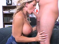 Mom Screwed By College Roommate Of Her Son : This iSCOREi Classic is one of big-boobed, gorgeous MILF Vicky Vettes earliest fuck scenes. She has the hots for her sons college roommate. Within minutes, the roommate is going to have his Mrs. Robinson fantasy explode into reality. Except Vicky is much more beautiful than Mrs. Robinson with a far better, hotter body.br br This is a really great way to start off the semester. The rest of this lads time will be all downhill after Vicky leaves and he has to fuck the geeky girls in his dorm. As soon as her son leaves the room, Vicky goes for his friends dick, licking, jacking, tit-banging and sucking it.br br After he licks Vickys mom-hole, they screw. Hard. Vicky climbs on top, her favorite position. She rides it like shes at the rodeo. Later he slips his beef up Vickys tight asshole. Vicky says hot anal sex makes her orgasm. He pounds Vickys butt and she screams with every in-stroke. Vicky jerks his dick, instead of him jerking it, and he showers Vickys face with nut-sauce. This was the hottest fuck of his life. After getting his brains banged out by Vicky, this dude never did another porn scene.br