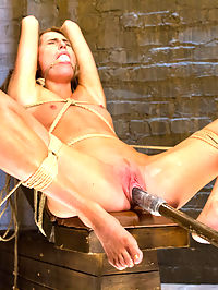 Gorgeous Newcomer Destroyed by Bondage and Squirting Orgasms : Roxy Rox is a beautiful newcomer to the ways of bondage and kink. I make her first scene one to remember by suspending her, gagging her, clipping her nipples and vibing her hot little twat till it spasms out a few intense orgasms while she hangs helplessly in the ropes.When I tie her down on her back, I make sure her long, luscious legs are tied wide open. Mr. Blig Black Dick of Rubber Rubber pounds the fuck out her sweet, tight pussy, and I finish her off with a vibe and a few fingers to the g-spot for some super wet squirting orgasms.At this point her pretty little head is spinning and I get the evil idea to really ramp things up with a Sybian. I tie the vibrating box tight to her twat, bind her to the floor and let er rip. As I slowly crank up the intensity of the vibrating machine, I start to add clothespins all over her pretty little tits. Once the thing is running on high, she is coming uncontrollable, unable to escape. No matter what she does she cannot get away from the evil machine. In the end, she is completely spent but very happy. HogTied delivers another beautiful girl fucked silly.