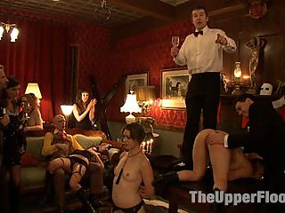 New Year Orgy : Come to the Upper Floor and be serviced by house slaves Cherry Torn and Sarah Shevon! A large guest list has RSVPed to this last sexual party of 2009.