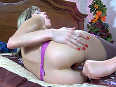Gina Gerson and Emily B mindblowing anal lesbian action : It and aposs sapphic anal sex that is a real turn-on for Gina Gerson and Emily B, so you and aposll see the first girl sticking her butt up in the air to let the second chick rim and poke it a bit. It and aposs easy to do since the girl is wearing a pair of gartered stockings without any panties thus giving free access to her rear entry. Finally, a smooth dildo is taken out, and bingo, it goes right up Gina Gerson and aposs little puckered hole!