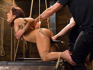 Awesome Ass Aguilera Get Rough Treatment on HogTied : Hot little slut Liv Aguilera gets rough treatment on HogTied when she arrives for her first bondage shoot. Tight ball gags, tit bondage, and a beautiful tied up ass add to this babes intense orgasms. She is made to vibe herself to coming while in a terrible predicament tie, suspended sideways and orgasmed till she cant take any more, and finally put into a strict doggie style position that shows off her fantastical ass. HogTied brings you the hottest babes in tight bondage coming their asses off!