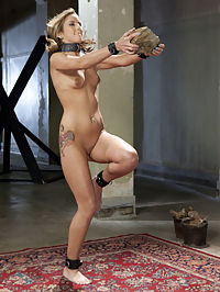 Training a Tiny College Cunt to Take Cock : Our fresh faced amateur wannabe slave slut shows up for Day 2 of her training with sore thighs and a sensitive pussy. Through exhaustive exercise training she earns a dick in between her pretty lips. However enthusiastic and determined this slave trainee may be we just cant get past one thing she cant fit a the large gimp cock in her tight little cunt. Really, we have never seen something like this before! She is sent home to strengthen her body and sexual prowess before she will be allowed to continue further. Great job Ms. Blaze!