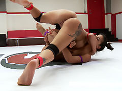 Mouthy Amateur Wrestlers go at it to impose Sexual Dominance on each other : Lyla Storm is fired up about taking on a rookie. Lylas been doing very well in tag matches and singles matches in season 11. She loves getting a W in her stats page. Today shes taking on a new face, Alexa Aimes. Alexa has some wrestling experience but its been a while since she has scrambled and shes a little rusty. Both these girls are mouthy. They can shit talk and back it up. This match is a WAR. Winner fucks the loser in brutal fashion. Loser is left utterly humiliated. Loser is fisted and face fucked.