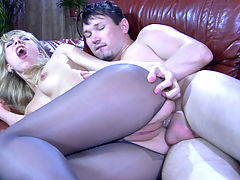 FeliciaC and Rolf horny anal pantyhose movie : Sitting on the leather sofa, Rolf has this blonde pantyhosed hottie in the over- the-knee position as if going to spank her tasty ass, but in fact he just has a thing about her pantyhosed rear part. Felicia C lets the guy grope her nylon clad buttocks and tongue tickle that yummy asshole. After some profound rimming and fingering, she blows his cock and licks his balls too prior to hardcore ass plowing.
