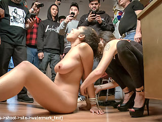 Public Squirt Fest!!! Big Boobs, Round Ass Humiliated in Public! : After getting booted out of the first store, Donna finds a more suitable location to have Serena fucked and disgraced. Once in, she is subjected to humiliation, torment and hard fucking in front of a group of horny men. Her beautiful body gets bound and de-faced, whipped, caned and flogged, and she is made to squirt uncontrollably again, and again, and again!