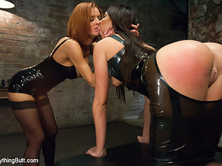 Anal Slave gets Dominated by Sexy Mistress in Latex : Cassandra Nix returns to get anally dominated by Veronica Avluv in this sexy anal fetish update. Dressed in latex, Veronica plays with her slave girl and fills up Cassandras second cunt hole with toys, fist and squirt!