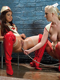 Latex Anal Nurses : Cherry Torn and Mia Gold get down and dirty as they play with each others asses in tight fetish latex! Includes ass licking, strap-on, enema play and more!