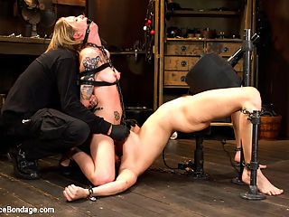 Suffering Together : Holly and Jeze have one goal to accomplish today, and that is to make it through this shoot in one piece. The task seems easy enough, but The Pope has a few tricks up his sleeve. Holly starts out with her legs spread wide exposing her whore pussy, with her arms in a strappado, and blindfolded. The Pope drags Jeze on set and puts her to work pleasing Hollys cunt. The pain comes from the cane, and her body is covered with it from her nipples to the soles of her feet.Next, Holly is in a brutal back arch with a sybian strapped between her legs. Jeze agai9n is brought in, but this time she is used as a tool to increase Hollys suffering, and also receiving some of her own.In the final scene, these two whores are facing each other in a doggy position, and made to watch as the other endures extreme punishment. They fight to help each other through the pain, but in the end its a hopeless struggle.