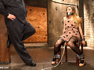 TAKEN - Hot Blonde Nymph Made to Submit : Emma Haize is taken by Sgt Major and used like a little bondage plaything in the fantasy role play featurette.