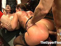 Anal Threesome Discipline on the Upper Floor : Lily returns to the Upper Floor but most prove her worth by taking the reins on Savannah Fox and her insatiable asshole.