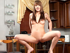Perky newcomer strips off her sheer panties for a self-induced orgasm