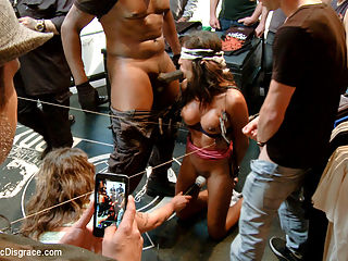 Lexington Steele Drags His New Whore to an Interracial Fuck Fest! : Lexington Steele Joins Public Disgrace in his FIRST EVER KINK.COM SHOOT. Watch as he parades his gagged and bound whore down the streets of San Francisco, ordering her to serve as an ash tray for passers by. Then he drags her into the Loin as a surprise for his friend Gage. Together they defile and humiliate her in front of the patrons. Princess Donna even joins in, when she sees this obedient slut in the window, she cant resist getting her hands dirty in this interracial fuck fest. Bondage, Breath Play, Sensory Deprivation, Humiliation, Rough Sex, Anal, and Squirting!