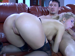Felicia C and Rolf stunning anal video : Rolf lounged all naked on the huge brown couch letting Felicia C gag on his throbbing manmeat while he fondled her stuck up round booty. The blonde wore her dark suspender nylons, but she wasn and apost wearing her undies, thus giving free access to her tempting naked bottom. Her guy was ready to take advantage of it drilling her ass in doggy and cowgirl style before pinning her butt on the sofa.