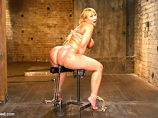 TIED WIDE OPEN for DOUBLE PENETRATION : Big Ass Mellanie Monroe brings her beautiful curves to HogTied for us to Tie her Wide Open. Her big ass is cleaved with rope to expose all her holes for us to torture and fuck.