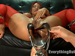 Double Anal Fisting : Ava Devine takes two fists in her ass and gets opened up wide with a huge speculum. Ass licking, giant strap-on cocks, gaping butt holes and more!