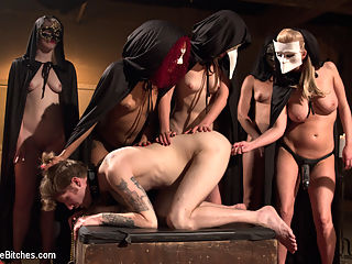 The Secret Femdom Society of Prostate Milking. : Footage of the Divine Bitches secret society inner workings has leaked. Little does everyone know that Madeline has leaked this information herself as a warning to the male gender informing them that their ego is up for sacrifice. The Bitches plan on populating the world with other Divine Bitches using YOUR sperm leading to world domination. Patrick Knight has no idea whats to come. He was plucked from the streets of San Francisco and dumped into the bowels of the Armory. The Bitches perform sadistic rituals on his flesh and rip him of his manhood. Cloaked and masked goddesses drive large strap-on cocks deep in his ass filling his balls to the brim while the head mistress milks his prostate with the flick of a finger and steals the seed from his quivering nut sack.