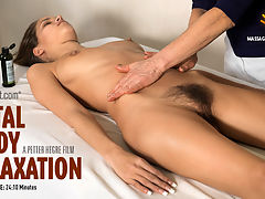 Total Body Relaxation : Filmed in a Parisian clinic Silvie receives a full body massage, designed to leave her feeling good all over.Laid out nude on the massage table, full bush and lithe long limbs on display Silvie is transported to a place of total relaxation.Pick up some tips to improve your own massage technique or simply relax and enjoy these soothing scenes of a beautiful model being caressed from top to toe.
