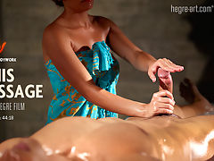 Penis Massage : A new dimension for Hegre-Art. There has never been such an arousing yet tender massage of a man on film as this.As she starts with a slow, slow oiling of his body - legs, thighs and beyond - his manhood responds to her caresses. The more he is fondled by the enchanted masseuse, the more the film reveals each stage of his arousal.Youll wonder how long he can hold back his excitement - and how long you can - before the explosive eruption.