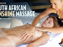 South African Sunshine Massage : Shot outdoors in sunny South Africa this stunning film demonstrates the extra power of massage when combined with beautiful natural surroundings.Sian is the perfect model for this a natural, outdoorsy beauty with gorgeous golden skin.Watching the masseuses hands sliding up and down Sians stunning naked body is almost as soothing as receiving the real thing!