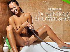 Dominika C Shower Show : Ultra-hot and effortlessly sexy - Dominika C is back and this time youre invited to join her in the shower! Cast your eyes all over Dominikas luscious firm, fit body as she enjoys a hot sensual shower. And savor the moment as she expertly massages her small, pert breasts and soaps up her full pussy lips. Dominika certainly seems to be getting a whole lot of pleasure as she lets the water caress her most intimate curves! This is one hot, steamy shower that you will never forget!
