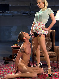 Only A Woman Is Strong Enough To Control This Young Cock : 18 year old Sam Truitt gets the punishment that such a young man deserves in this hot domestic dungeon with his mistress, Cherry Torn. 18 years old is barely old enough to be called a man and boys will be boys and that cock of his does all his thinking for him. Cherry immediately bends Sam over her knee giving him a hard spanking until he is fish flopping in her lap. Hes made to help her into her strap-on and then face down ass up and fucked hard in his young little asshole. His face is locked in a face sitting box and Cherrys round ripe ass takes his breath away. Cherry even uses his cock as a human dildo! Sams dick is of course on the edge of eruption the entire time and only Cherry will decide his fate.