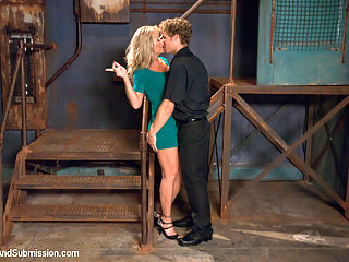 Sadistic Security Guards Fuck Sexy MILF in the Armory : Sexy bondage MILF ,Simone Sonay, plays out her real fantasy and gets dominated and fucked by two sadistic security guards.
