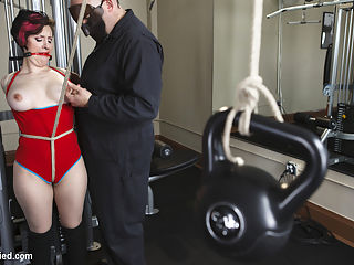Gym Babe Taken and Tormented : Big Natural Tits in tight workout clothes catch Sarges eye and he takes what he wants in the Armory Fitness Center. Iona Grace is ripped out of her clothes and tied to the exercise gear for a hard session of bondage and penetrating orgasms.