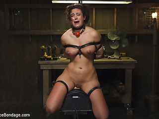 Bratty MILF gets tortured and made to cum!! : Penny is a super hot MILF that is as bratty as they come. She is first taken the edge of her darkest place by mummifying her. This type of deprivation is hard fro her, but she agreed to do it, and its clear that she likes being pushed to the edge. Next she chained into place in a back bend and her entire body caned. The pain becomes almost unbearable, yet she pushed through to prove she wont be beaten that easily.We finish the day by mounting her atop a sybian, and watch as this bratty bitch has more orgasms ripped from her wiling cunt than she can handle.