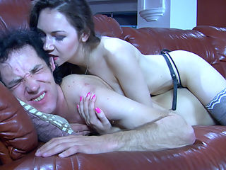 Crystal and HermanA mindblowing strapon video : Half naked brunette Crystal has got a fat strapon surprise for her sleeping on the huge leather sofa boyfriend. Watch her brandishing that strapon dick hanging between her stockinged legs before she begins making passes at Herman A. Since he and aposs got absolutely nothing on, she can get free access to his tight male booty. The girl makes the most of it, stuffing and drilling his ass in every which way.