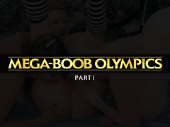 Mega-Boob Olympics Part 1 : Six of the worlds biggest-breasted stars, Casey James, Kayla Kleevage, Maxi Mounds, Minka, Plenty UpTopp and SaRenna Lee, came to the east coast of Florida for a big-bust challenge of epic dimensions, The Mega-Boob Olympics. Their games of boob competition included Twister, the Big Tit Oil-down, Hooter Hula-Hoop, The Dildo Race, The Strap-on Ring Toss and The Nipple Erection Contest.br br In between games, the girls shower, swim, get-off with fingers and toys and do what mega-boobed ladies do when they live in a beach house hideaway for a week. In Part One, Casey has a wet T-shirt shower and Kayla fucks her nipples and pussy with a big toy.br br A best-selling DVD year after year, The Mega-Boob Olympics has been reformatted for this iSCORELANDi presentation. A Big Tit Lovers Dream! wrote one reviewer. Another wrote, For connoisseurs of gorgeous females with astoundingly imposing pectoral projections, this title is truly one of the most magnificently made of its kind.br br This big boob smorgasbord, for those of you into math figures as well, has six lovely ladies who combined have an upper measurement of 296 inches of mammary madness. This averages out to just a speck under 50 inches per gal, with the largest being 58. I suspect that Omar the Tent Maker took early retirement after making their costumes.- Adult Video News magazine.br