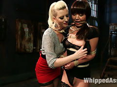 Marcia Hase, famous fetish porn star makes an explosive appearance on Whipped Ass for the first time! In this erotic roleplay Marica plays a woman who works at a rub and tug massage parlor. When Cherry Torn finds out her husband has been getting handjobs from Marcia on a regular basis she decides to take matters into her own hands! Tight bondage, lesbian spanking, whipping and anal strap-on lesbian sex in bondage are all included!