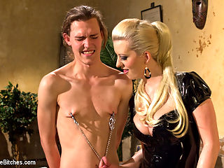 If you dont keep your hands off your cock I will do it for you! : Garrett Nova is a 19 year old student whos parents pay his way through college. Problem is Garrett cant keep his pesky little hands off his cock and hes facing expulsion! His parents have had it with his perverted masturbation tendencies and sent him to the Divine Bitches instead of a traditional therapist for some EXTREME therapy. Mistress Cherry Torn is more than happy to bend this boy over, spank the hell out of him, lock his little cock away in chastity, fuck him in the ass and give him the cock tease of a lifetime.