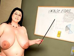 Natalies Anatomy Lesson : Fess up. Have you ever had a schoolteacher as busty as Natalie Fiore, now in charge of this classroom? Have you ever had a schoolteacher as busty and as pregnant as Natalie? Well, now you can experience that vision at XLGirls.com.br br Natalie has the pointer in her hands and the pointers under her extremely low-cut top. There may be a dress code for students but none for the faculty. Natalies massive mams look ready to plop out of her top and bra and engulf the classroom.br br Natalies lesson plan for today is all about sex education, pregnancy, female breasts and the female reproductive organs, namely her own sweet sugar-box. She perches on top of her desk for a big-boob and spread pussy lesson in anatomy no one will ever forget. She may seem strict but shes really a push-over.br br Dont we all wish we had teachers like Miss Fiore?