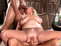 The Shy Girl Gets Ass-Fucked By Two Studs : Tahnee Taylor once told us, Im a shy girl, but I love getting fucked in my ass. Here, this 49-year-old gets fucked in her ass by two big-dicked studs. They take turns on her ass, and when one of the cocks isnt in her ass, its in her deep-sucking mouth.br br I love sucking cock while getting fucked in my ass, big-titted Tahnee said.br br This video is full of great moments, starting when Tahnee is on her knees and goes back and forth sucking the two cocks and continuing when one of the studs sticks one finger then a second in her asshole. While hes doing this, Tahnee is sucking the other dudes cock, and then the other dude sticks his finger in Tahnees pink cunt. So Tahnee has cock in her mouth and fingers in her pussy and asshole.br br Then the ass-fucking begins, and Tahnee takes it hard and deep. She might be shy, but she doesnt shy away from a hard ass pounding. Finally, the guys shoot their loads in Tahnees mouth, and Tahnee proudly sticks out her tongue to show us all of the cum she collected.br br Shy? We need to meet more shy women like Tahnee.