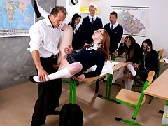 Squirting Exhibitionist : We dont know whats going on with the Czech public school system, but we need to adopt some of their practices over here. When a student doesnt know the answer to a question, they get out of it by fucking their teachers...in front of other students! Linda seduces her teacher and sucks his cock while her classmates watch on in amazement. She gets pounded on a desk with no regard for the other people in the room. In fact, shes so into it that she squirts at 811, and keeps on squirting after that! Linda gets an A for fucking!