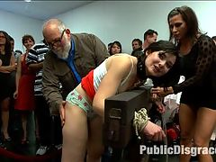 First ever porn shoot- amateur cutie takes it all! : Amy is a bratty little bitch who needs a lesson in manners and Ariel X is just the person to oblige! This little attention whore does it all. Bondage, Anal, DP, strap-on, Pussy licking and public humiliation all while mouthing off to the audience members and begging for more.