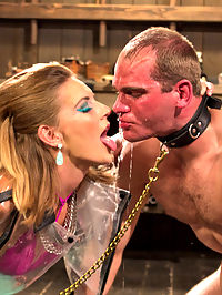 Latex Cock Tease : Mona Wales is devastating in her skin tight high waist bright blue latex. So devastating in fact that John cant control his cock when she rubs it between her juicy latex thighs and he blows his filthy load all over. John is punished and plugged with a tail and humiliated then water boarded until he has given all control over to his Goddess. This hard cocked slut is fucked deep in his ass with Monas powerful strap-on and looses his load for a second time all over like a filthy cock teased slave whore!