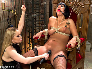 Caged Slut : Rose Rhapsody cant be let loose in the Armory due to her constant fornication with random cock in the building. Shes locked away in the Armory basement cell and left to wait for her punishment. Aiden Starr is put on the case and dishes out a session so humiliating Rose wont be able to sit for days. Hard spanking, objectification, ass licking, ass and pussy fisting, strap-on anal, tit punishment and caning are all included.