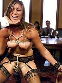 The Slave Petition of Rilynn Rae : We have been waiting for Rilynn Rae to come to her senses and submit to the Upper Floor experience. And now that she is here, we are sparing no effort in supporting her petition when we bring House Slave Casey Calvert in to mentor Rilynn through her ordeal.Rilynns first scene almost takes her out of the game, but a firm hand guides her back to the task at hand giving others pleasure at the expense of her own comfort. She suffers beautifully in a difficult stress position, and sweats it out till the House Guests get off on her pain, Only then is she allowed to get hers, and to earn some dick.Meanwhile, Casey is on hand to encourage and delight the guests with her hot, kinky little body and her sexy masochism.As Brunch concludes, the slaves are lead to the lounge where the sexual service takes place. These slaves have allot of cock to satisfy. Caseys hunger for anal sex and Rilynns fresh faced hard fucking drives the entire party into sexual overdrive as a full fledged kinky orgy breaks out.Rilynns petition is considered as she wipes the come off her face - you decide - is she House Slave material?