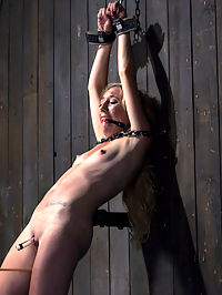 The Point of No Return : Emmas petite body looks amazing covered in hard steel and leather. Her body is restrained to render her completely helpless and available to Orlando for punishment. Her body gets the full treatment of torment flogging, cat-o-nine, pegs, clamps, breath control, and a sybian ride that shook this poor helpless girls brain for almost 30 minutes.