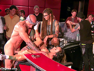 Nadia Styless epic return to Public Disgrace : It has certainly been a while since Nadia first performed for Princess Donna. Turns out she is as big a slut as ever. Pissing on the floor like an animal, Fucked in the ass on a bar, face stuffed with cock, nipples and pussy clamped, flogging and humiliation. Welcome back little whore!