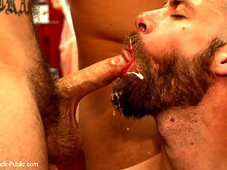 Beard full of cum - Bound stud fucked with machines and cock alike! : Seth Fisher put up an ad online to hook up at a local sex shop. When he starts getting bitchy and asking for donations the shoppers take him down and teach him a lesson the only way they know how. Seth is tied up and bent over the register as hes made to take hard man meat from both ends. Back in the arcades, Seths bent over to swallow Connor Maguires hard cock as the fucksall machine fucks his hairy hole from behind. They make Seth ride the sybian for another machine fuck as each of the horny guys gives him a beard full of cum. Once Seth blows his load from the machine in his ass, hes shoved to his knees as the guys make him lick up every drop of cum.