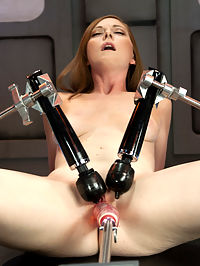 Scarlett Fay In the Armory and Fucking the Machines : Scarlett is a down to business kind of girl - she comes in, takes her clothes off and goes to the machines with a pussy challenge to make her cum. Now Scarlett can not necessarily take the fastest of pounding, but she does fuck for a good long while with some genuine face scrunching orgasms that will make your dick hard. She humps our robot tongues and seeing her creamy pussy and swollen clit grind against the rubber is super hot. She moans in those deep primal moans that girls have in their most private of fucking moments. Thanks Scarlett, for the good time and letting us fucking your pussy until its creamy and open!